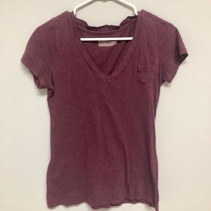 maroon v neck shirt